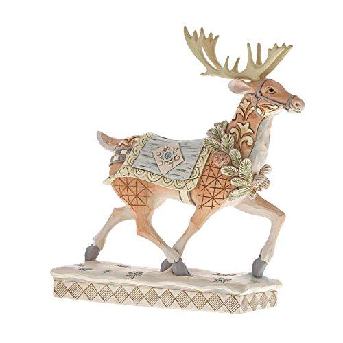 (Department56 Enesco Jim Shore Heartwood Creek Whitewoodland Running Reindeer, Multicolor)