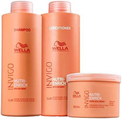 Banner Kit para cuidados com cabelo Wella Invigo Nutri Enrich - contendo Shampoo de 1litro + Condicionador de 1litro + Mascara 500ml