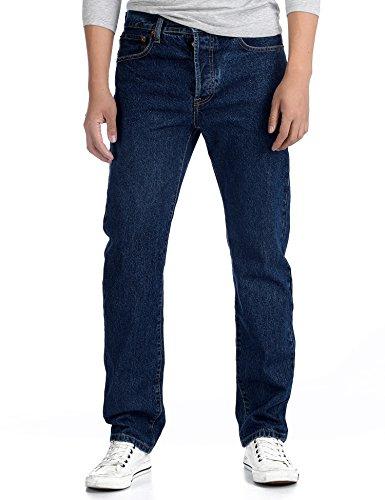 Deyllo Men's Jean Pants Denim Trousers Slim Straight Fit Classic Relaxed Pants(Dark Stonewash,34Wx36L)