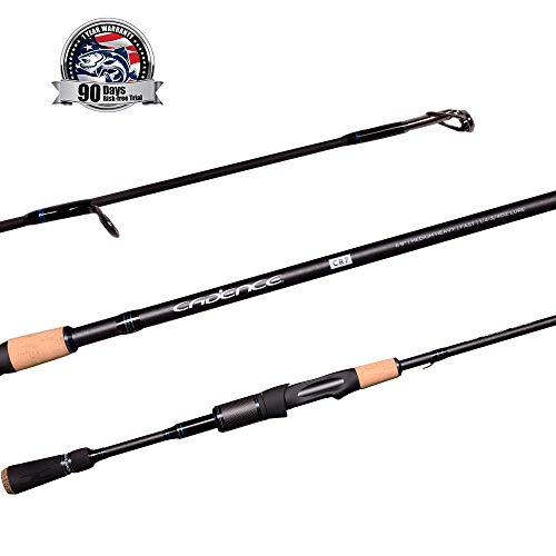 Med Foam Rod - Cadence CR7 Spinning Rod, Fishing Rod with 40 Ton Carbon,Fuji Reel Seat,Durable Stainless Steel Guides with SiC Inserts,Full Assortment of Lengths, Actions for Spinning Reels