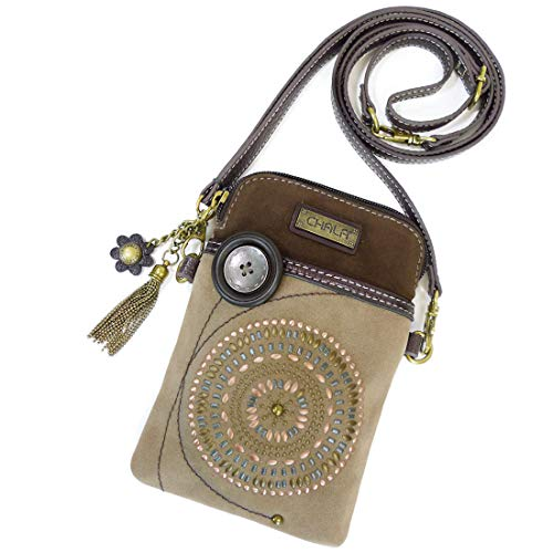 Chala Dazzled Crossbody Cell Phone Purse - Women Faux Leather Multicolor Handbag with Adjustable Strap (Bohemian Brown)