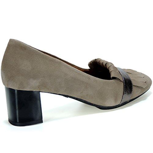 TODAY - Zapato Flecos Tacón Ancho 5.5Cm - Modelo 101TO, color TAUPE, Talla 39