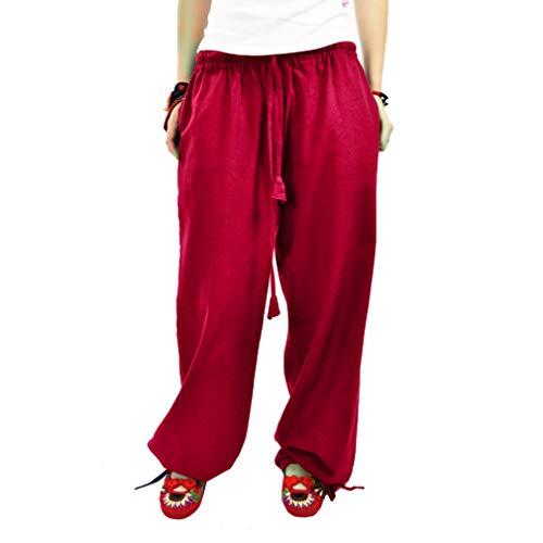 Taille Casual Jambe Pantalon Confortable Elastique Yoga en Leggings Rose Lin Pantalon Femme Rouge lgant Fit Pantalons Longs Large Loose 6zrqwR6