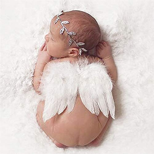 Infant Angel Halloween Costumes (Swovo Baby Angel Wings Feather Wings Newborn Photo Prop with Leave Headbands Set Newborn Costume 0-6 Months Infant)
