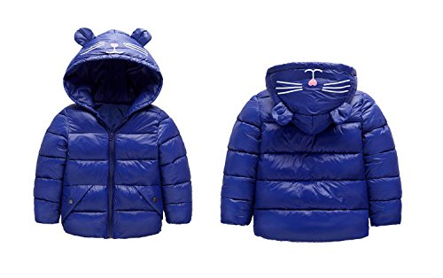 Coat Baby Warm Jacket Outwear 3 4T Dark Hoodie Ear Baby Light Kids Winter Blue Royal Fairy blue Size Down Girls Boys PpxPAB