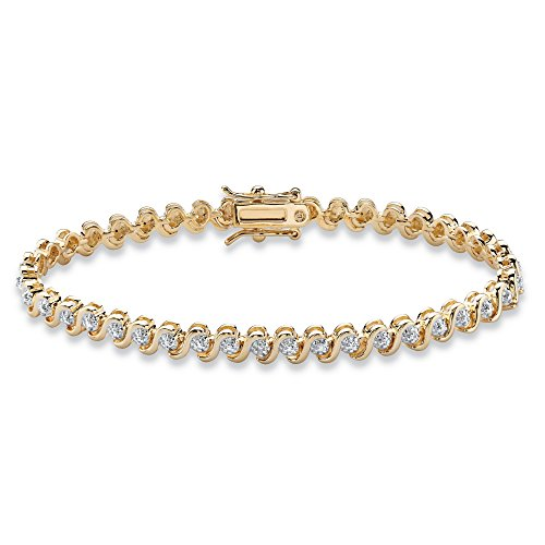 Palm Beach Jewelry Round White Diamond Accent S-Link Tennis Bracelet 18k Yellow Gold-Plated ()