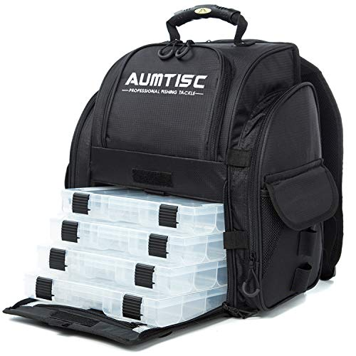 Aumtisc Fishing Backpack Large Fishing Tackle Bag with Protective Rain Cover and 4 Trays Trackle Box (Black)
