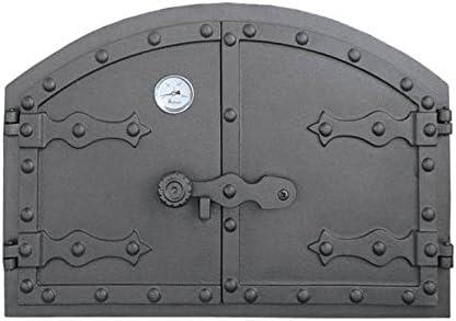 Puerta de horno para pizza o horno de madera con termómetro, exterior de 525 x 355 mm, dirección de apertura: doble hoja