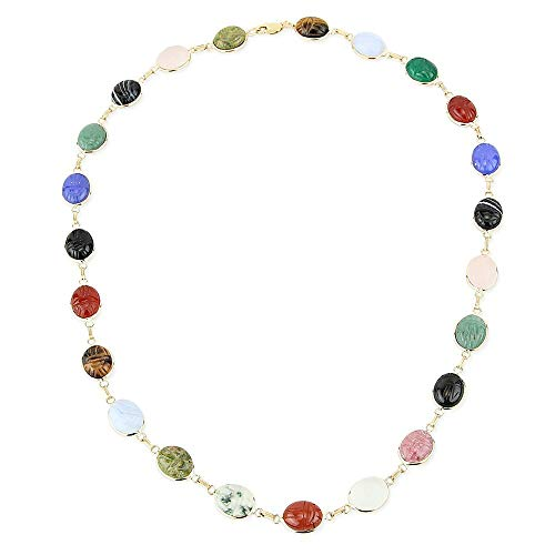 14K Yellow Gold Oval Shaped Scarab Gemstone Necklace -