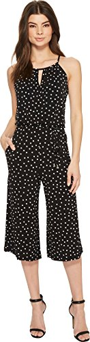 London Times Women's Happy Dot Cropped Jumpsuit Black/White 12