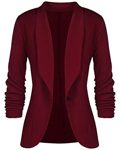 Women Blazer 3/4 Sleeve-Stretch Open-Front Casual Cardigan Jacket Lightweight Work Office Blazers Wine Red