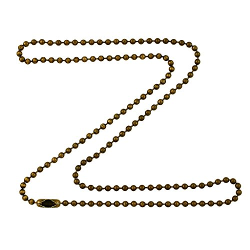 2.4mm Antique Brass Ball Chain Necklace with Extra Durable Color Protect Finish - 34 (Brass Bead Chain)