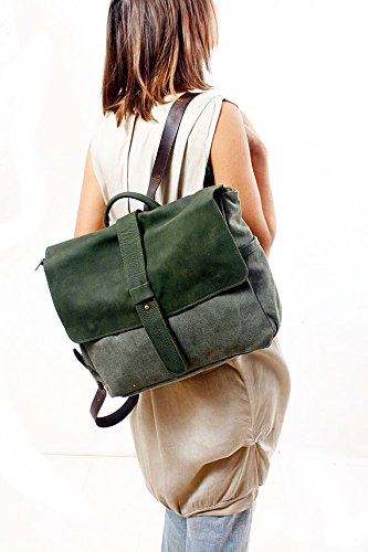 Handmade Green Leather and Canvas Messenger Backpack, Handmade Laptop Rucksack Handbag by Ruth Kraus