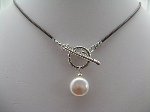 Swarovski Crystal Glass Coin Pearl Leather Strand Sterling Silver Necklace with Front Toggle Closure Artisan Jewelry