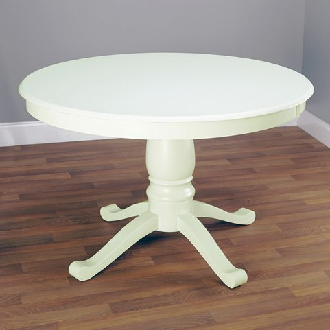 Simple Living Alexa Round Antique White Wood Pedestal Dining Room or Kitchen Table (Tables Dining Round Sale For Antique)