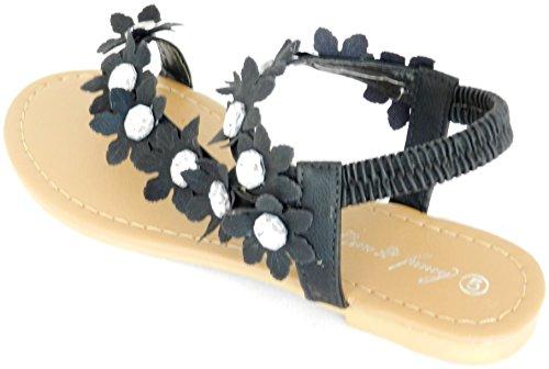Womens Nieuwe Gladiator Strass Bloem T-riem Platte Sandaal Teenslippers Schoenen Zwart Fancy