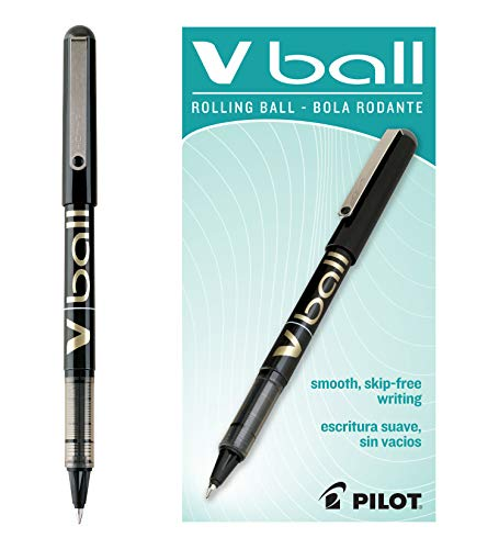 Pilot VBall Liquid Ink Rolling Ball Stick Pen, Fine Point, Black Ink, Dozen Box (35112)