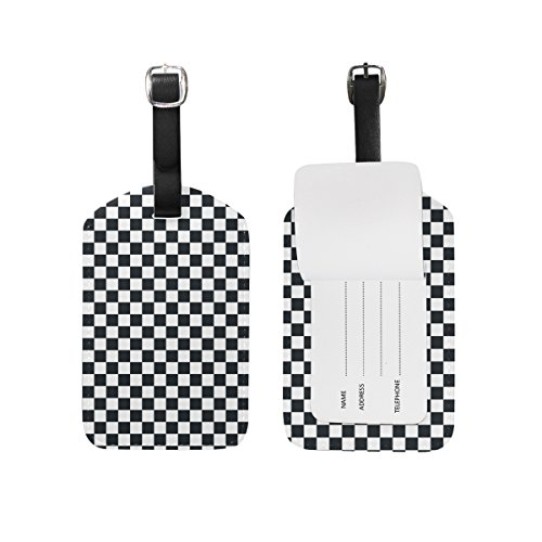 (My Daily Black And White Plaid Gingham Checkered Luggage Tag PU Leather Bag Tag Travel Suitcases ID Identifier Baggage Label)