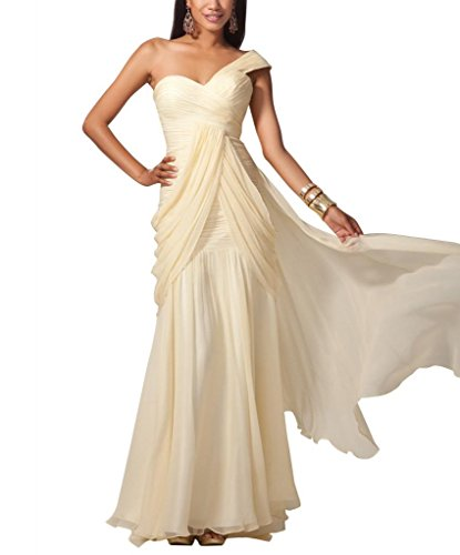 Perlen Applikationen Abendkleid Schulter GEORGE bodenlangen Mantel Spalte Elfenbein einer mit BRIDE AOqAR