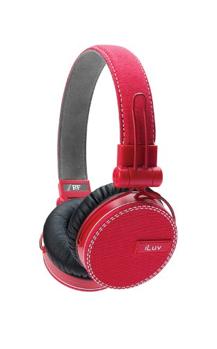 ReF by iLuv - Canvas Fabric Exterior On-Ear Headphones with Incredibly Deep Bass - Perfect match to Fashionable Outfits and Loud Bass Music such as EDM, Hip Hop, Rap, Rock & Roll - Compatible with Samsung GALAXY S, GALAXY Tab, Note, HTC, Google, LG, Sony & Other Android Smartphones (Red) ()