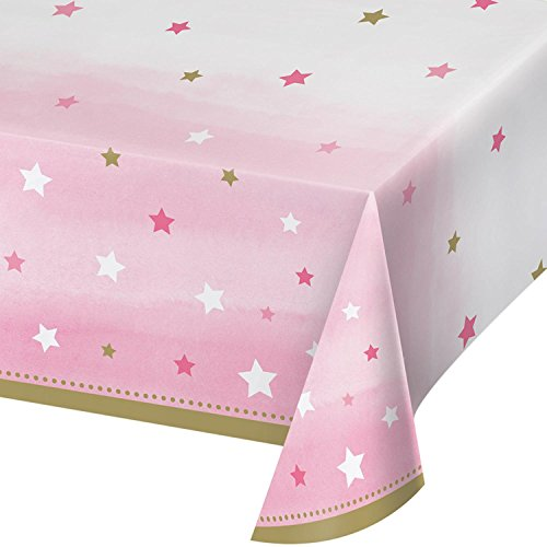 "Party Central Club Pack of 6 Pink White Decorative One Little Star Girl Table Cover 16.2"" by Party Central"