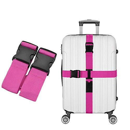 - Satisfounder Luggage Straps Suitcase Strap Criss-cross Adjustable Security Baggage Waist Belt with Tag Slot (18-32 inch) (Rose Red)