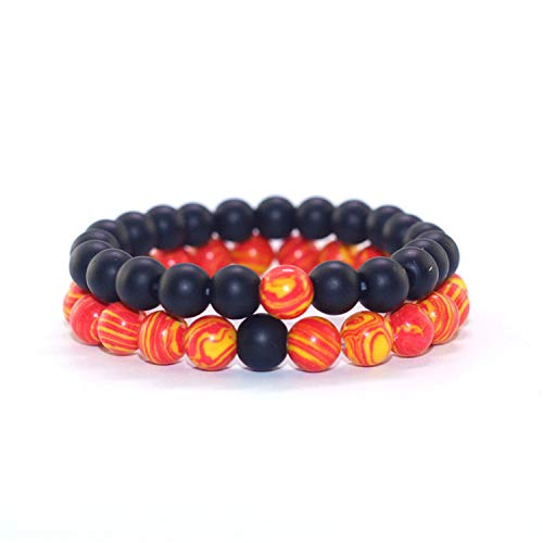 VBTY Collection Bangle, Classic Bracelet 8MM 2Pcs\Set Couples Distance Bracelet Classic Natural Stone Red&Black Good Luck Beaded Bracelets for Men Women Best Friend Hot 18 - 20 Gold Jubilee Crystal