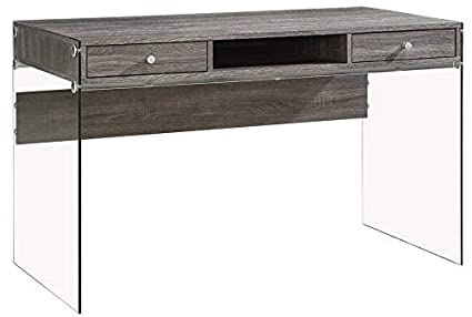 Attrayant Wood Desk With Glass Legs   Rectangular Desk With Shelves And Drawers    Weathered Gray
