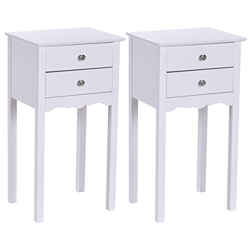 2 PCS White Side Table End Accent Table Night Stand With 2 Drawers Furniture Mdf Oak Bookcase