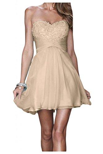 TOSKANA BRAUT Vestido de noche con forma de corazón, corto, gasa, encaje, para novia, cóctel, baile, fiesta champán