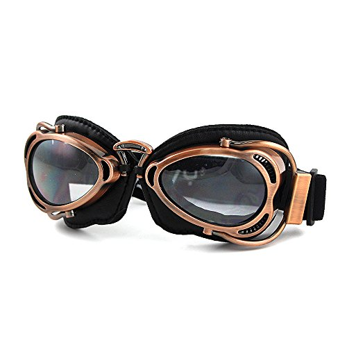 Motorcycle Ridding Goggles Sports Outdoor Clear Lenses UV Protection Sunglasses Vintage Aviator Pilot Goggles (Copper Frame with Clear Lenses)