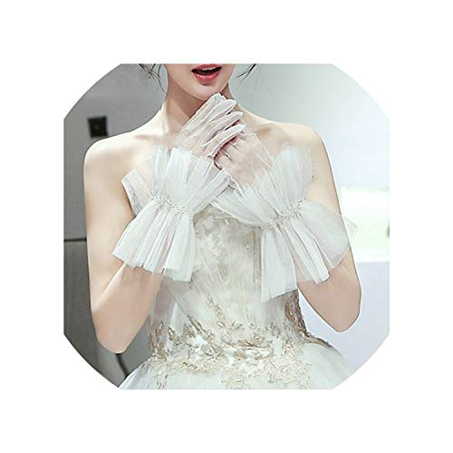Korean Style Bridal Gloves For Women Pearl Tulle Evening Gloves Bridesmaid Gloves Wedding Accessoires Mariage Femme