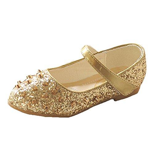 OPSUN Halbschuhe Prinzessin Sandalen Mädchen Sandalen Kinderschuhe Ballerinas Sandaletten Gold Sandalette Kleinkinder AWBAqr4
