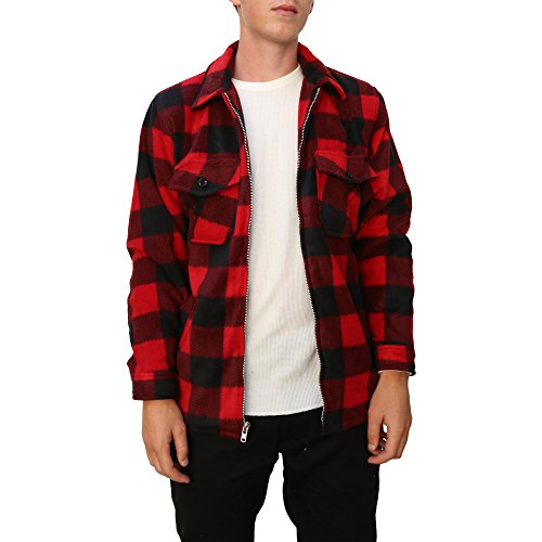 (Maxxsel Mens Buffalo Plaid Fleece Jacket (X-Large, Red/Black))