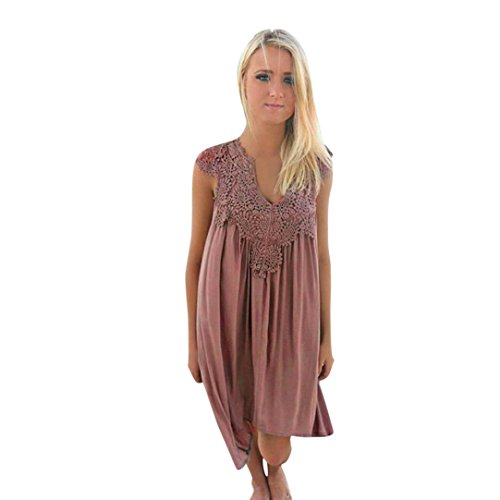 Wintialy Women's Summer Sleeveless Halter Neck Lace Patchwork Loose Casual Mini Chiffon Dress from Wintialy women clothes