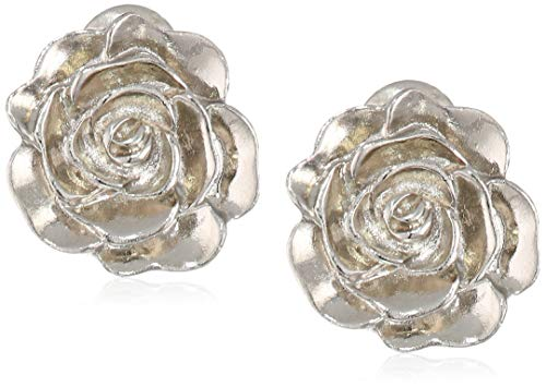 1928 Jewelry Women's Silver-Tone Flower Button Clip Earrings, Silver, One Size