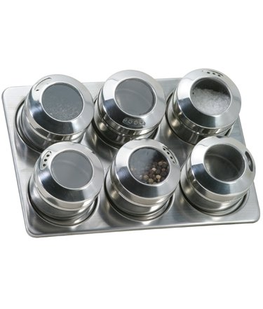 Spice Rack with 6 Magnetic Jars By Danesco