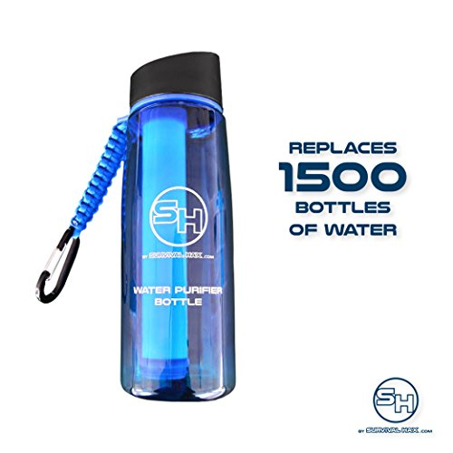 Survival Hax Water Purifier Bottle with .1 Micron Filter and Paracord Bracelet