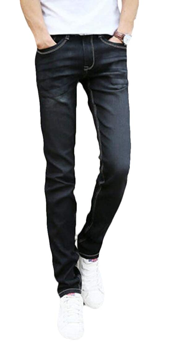 UUYUK Men Washed Stretch Pockets Straight Leg Slim Fit Denim Jeans Pants
