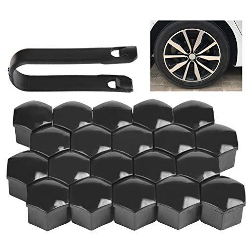 QLOUNI 20pcs 17mm Universal Wheel Lug Nut Cover Black Cap Center Caps with Removal Tool