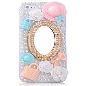 JJE Diamond Bling Flower Hat Mirror Pearl Pattern Plastic Hard Cases for iPhone 4/4S