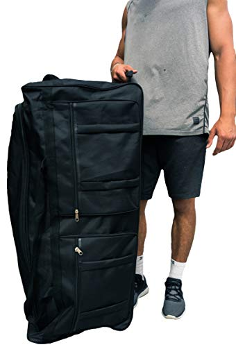 Gothamite 42-inch Rolling Duffle Bag with Wheels   Luggage Bag   Hockey Bag   XL Duffle Bag With Rollers   Heavy Duty Oversized 1200D Polyester
