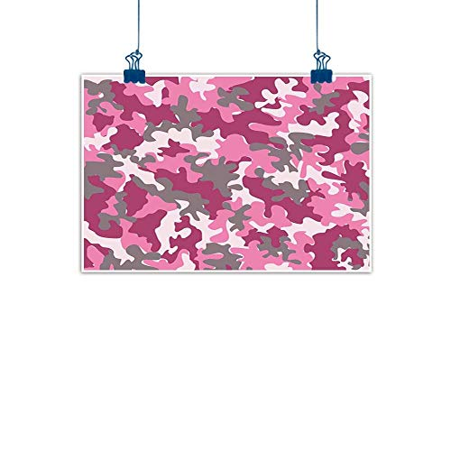 Sunset glow Outdoor Nature Inspiration Poster Wilderness Camo,Cute Sweet Pattern in Pink Tones Feminine Design Girlish Vibrant Artistic,Magenta Hot Pink Grey for Living Room Bedroom 20