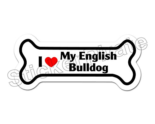 Love Bulldogs (*Dog Bone Magnet* I Love My English Bulldog Car Truck Locker Magnet)