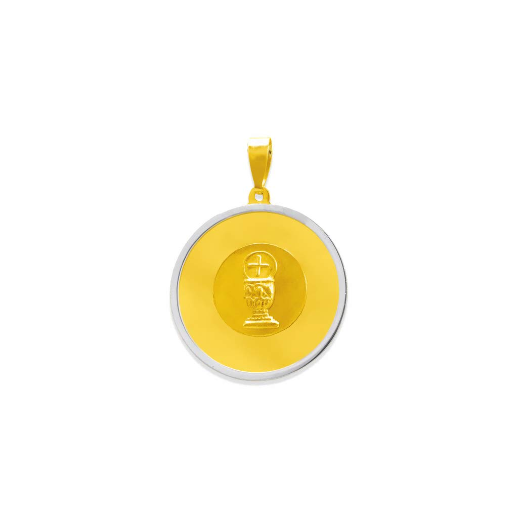 Luxury Communion Necklace Nice Jewelry Gift for Women and Men Sizes 16-18 and 20 MM TOUSIATTAR 14K Twotone Gold Communion Pendant