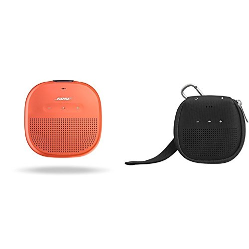 Bose SoundLink Micro Waterproof Bluetooth speaker (Bright Orange) with AmazonBasics Case (Black)