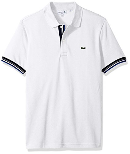 Lacoste Men's Short Sleeve Semi Fancy 2 Ply Pique Polo-Slim Fit, White, 3