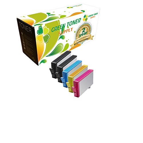 Green Toner Supply Compatible Ink Cartridge Replacement for HP 564XL (2 Black, 1 Cyan, 1 Yellow, 1 Magenta, 5-Pack)