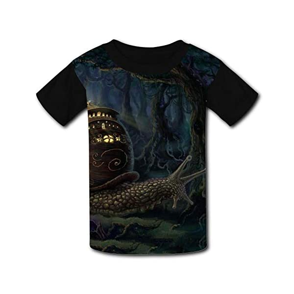 Elcacf Kids/Youth Funny Steampunk Snail Castle Comfortable T-Shirts Short Sleeve Children Tees Funny Creative 3