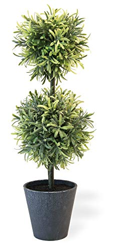 Boston International Decorative Faux Potted Double Ball Topiary Plant, 19-Inches, Rosemary